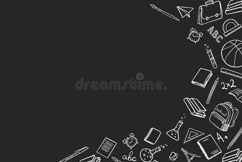 Lugar para el texto con los elementos de la escuela en vuelta a la escuela en el estilo del garabato en un fondo negro Ilustraci? stock de ilustración
