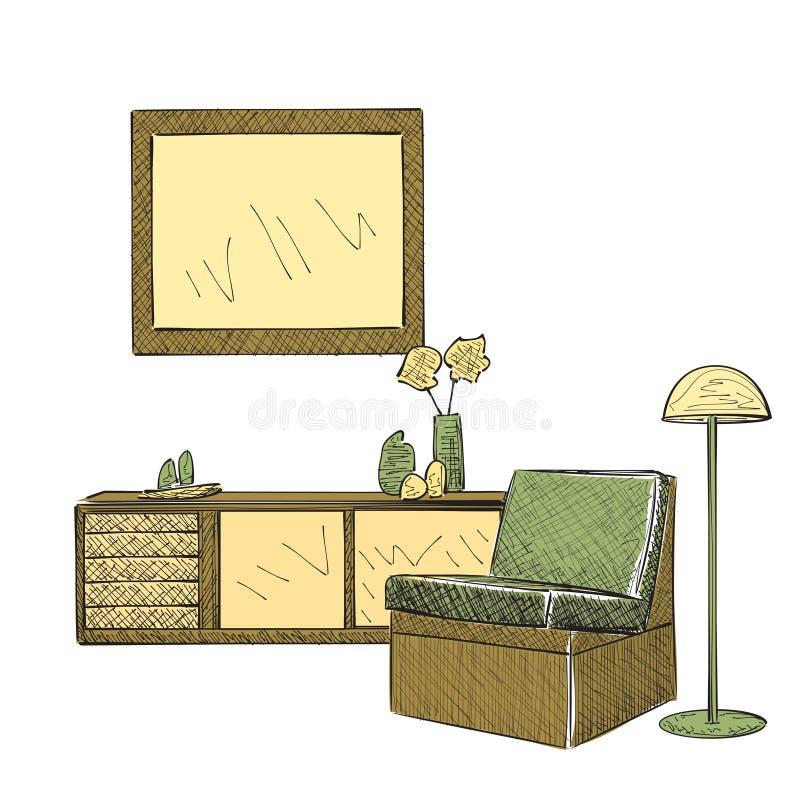 Lugar para leer con bosquejo de la silla stock de ilustración