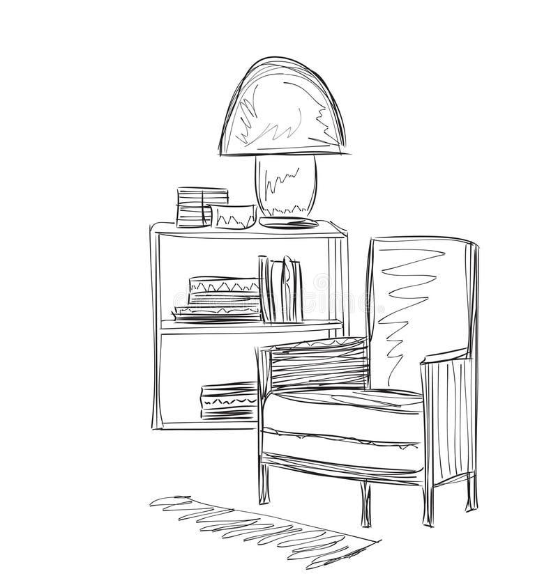 Lugar para leer con bosquejo de la silla ilustración del vector