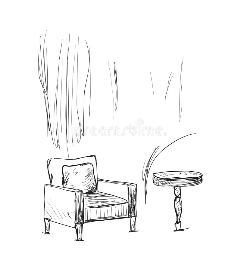 Lugar para leer con bosquejo de la silla libre illustration