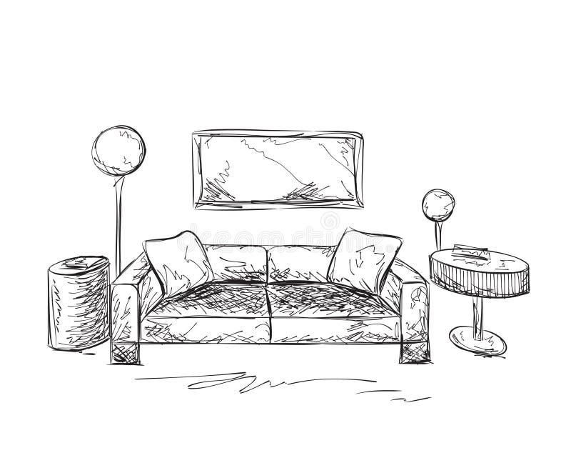 Lugar para leer con el sofá Interior del sitio ilustración del vector