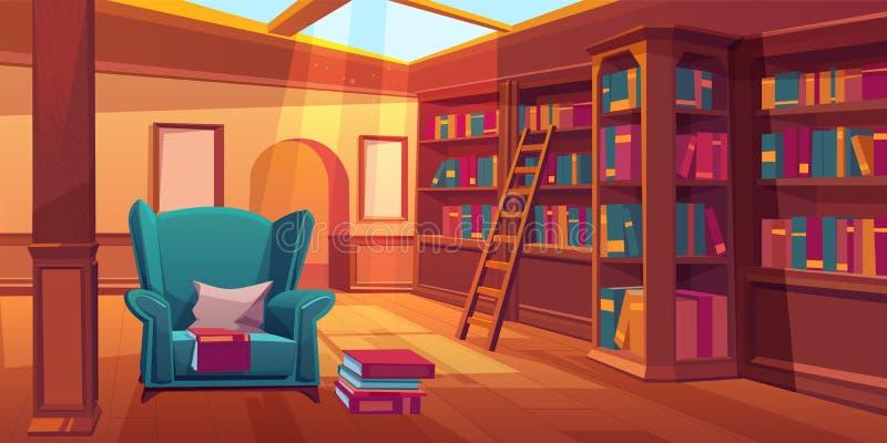 Lugar para livros de leitura, interior da biblioteca de casa ilustração do vetor