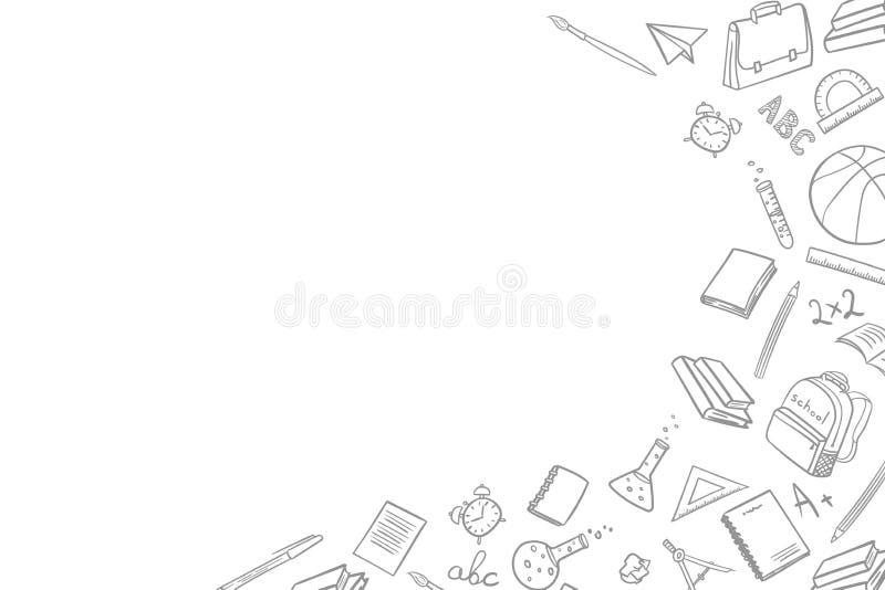 Lugar para o texto com elementos da escola no retorno à escola no estilo da garatuja em um fundo branco Ilustra??o do vetor ilustração royalty free