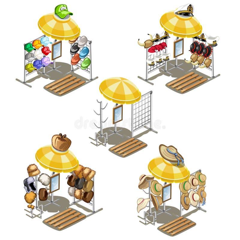 Lugar para vendas da rua do tampão do verão e dos chapéus forrado a pele ilustração royalty free