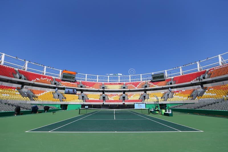 Lugar principal Maria Esther Bueno Court del tenis de la Río 2016 Juegos Olímpicos en el centro olímpico del tenis fotografía de archivo