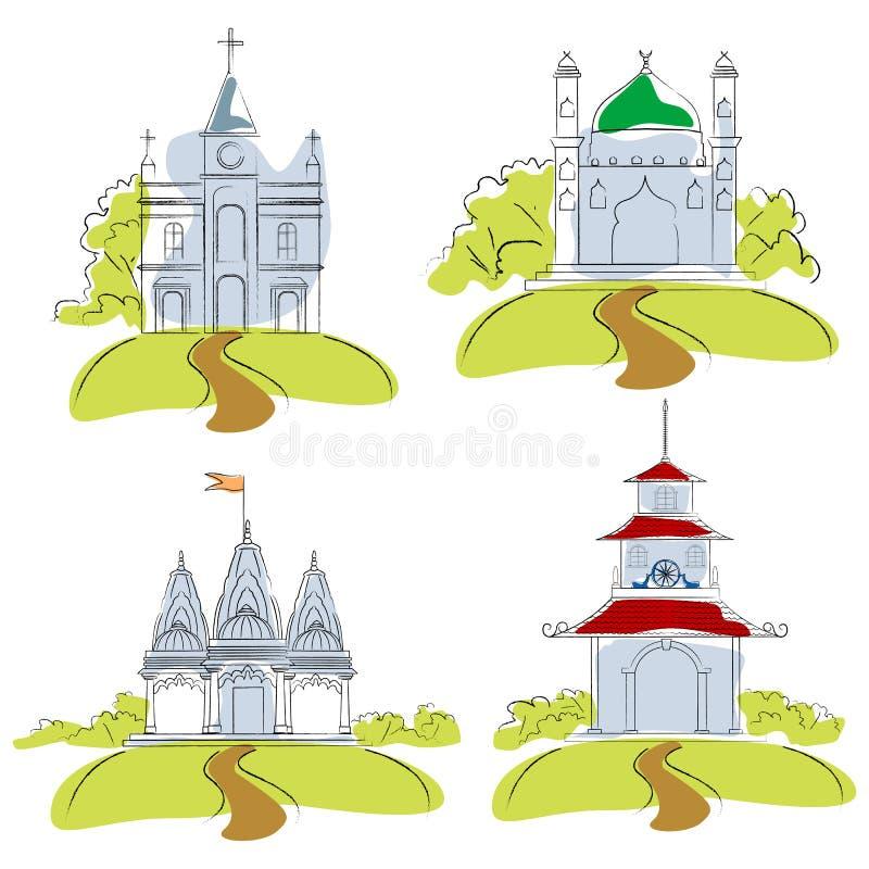 Lugares de culto ilustração royalty free