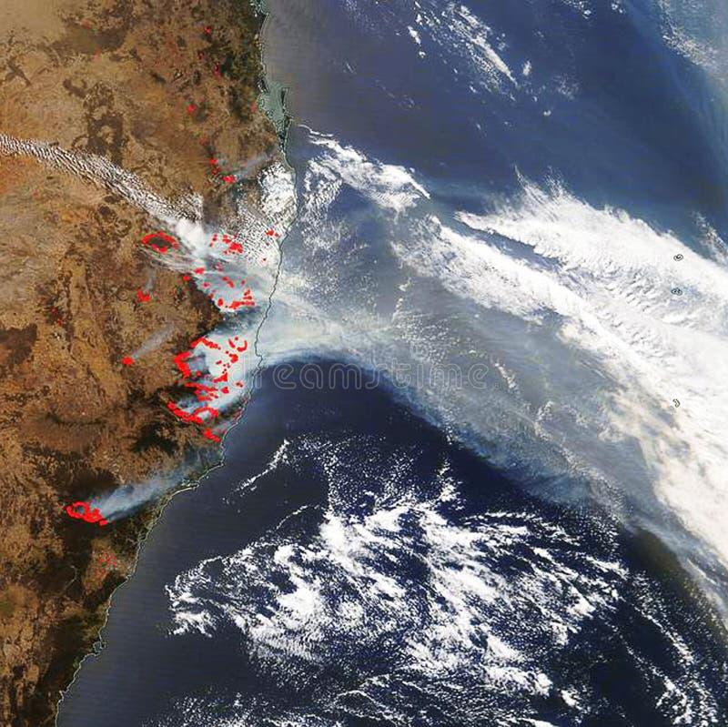 Lugares de incêndio na Austrália Imagem do satélite fotografia de stock