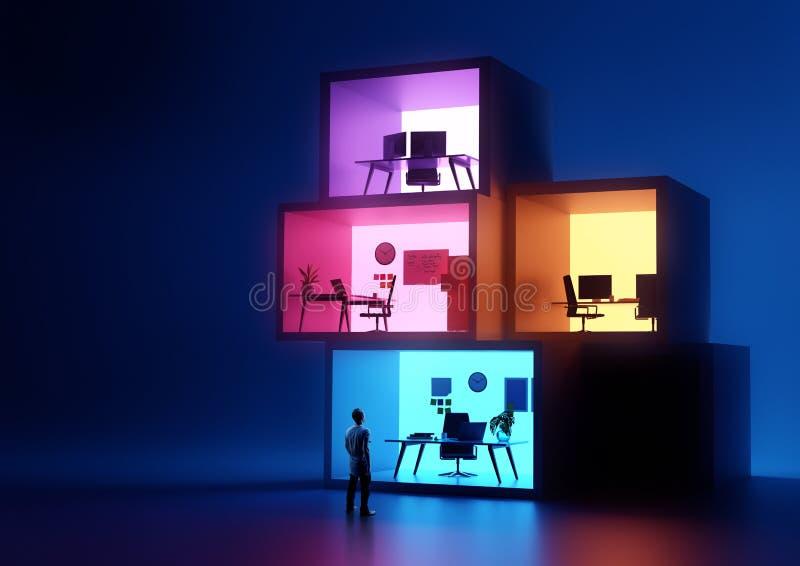 Lugares de trabajo apilados de la oficina de negocios que brillan intensamente foto de archivo