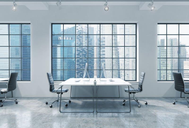 Lugares de trabajo en una oficina moderna brillante del espacio abierto del desván Las tablas se equipan de los ordenadores moder libre illustration