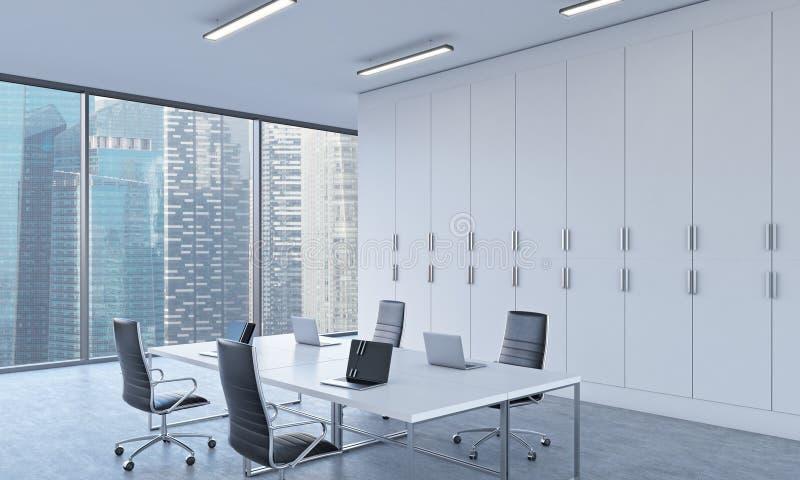 Lugares de trabajo o área de la conferencia en una oficina moderna brillante del espacio abierto stock de ilustración