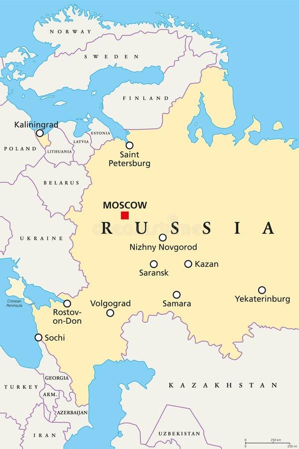 Lugares del mundial del fútbol en Rusia, mapa libre illustration