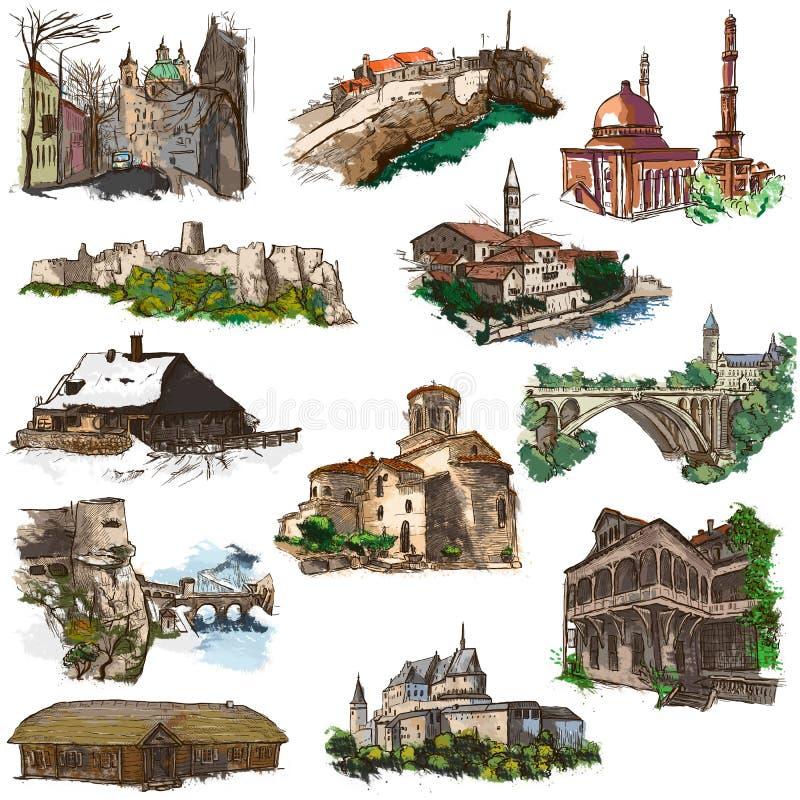 Lugares e arquitetura - desenhos sem redução da mão ilustração royalty free