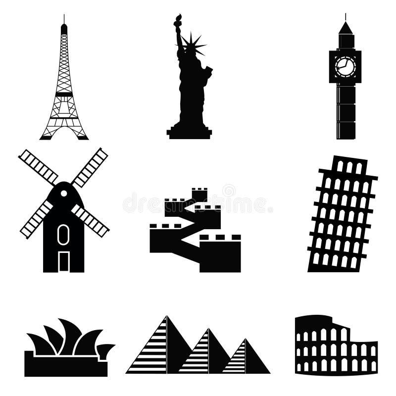 Lugares e monumentos famosos em todo o mundo ilustração royalty free