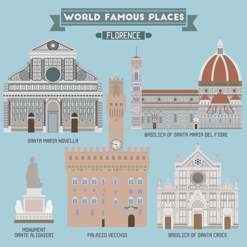 Lugares famosos de Florencia stock de ilustración