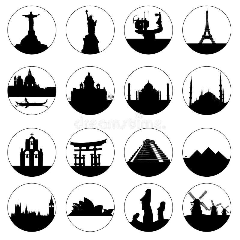 Lugares famosos del botón en el mundo libre illustration