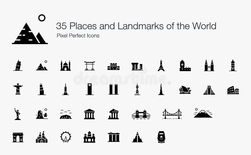 Lugares famosos del inter?s y de las se?ales en todo el mundo stock de ilustración