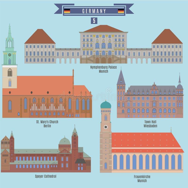 Lugares famosos em Alemanha ilustração royalty free
