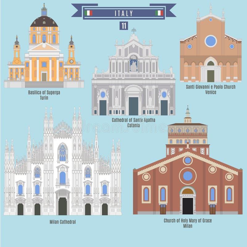 Lugares famosos em Itália ilustração stock
