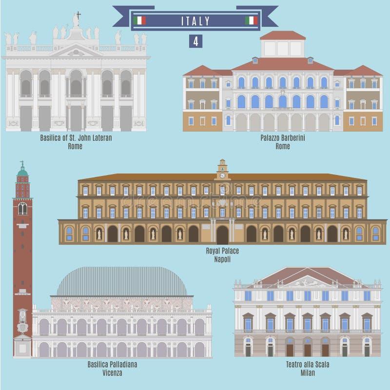 Lugares famosos en Italia libre illustration