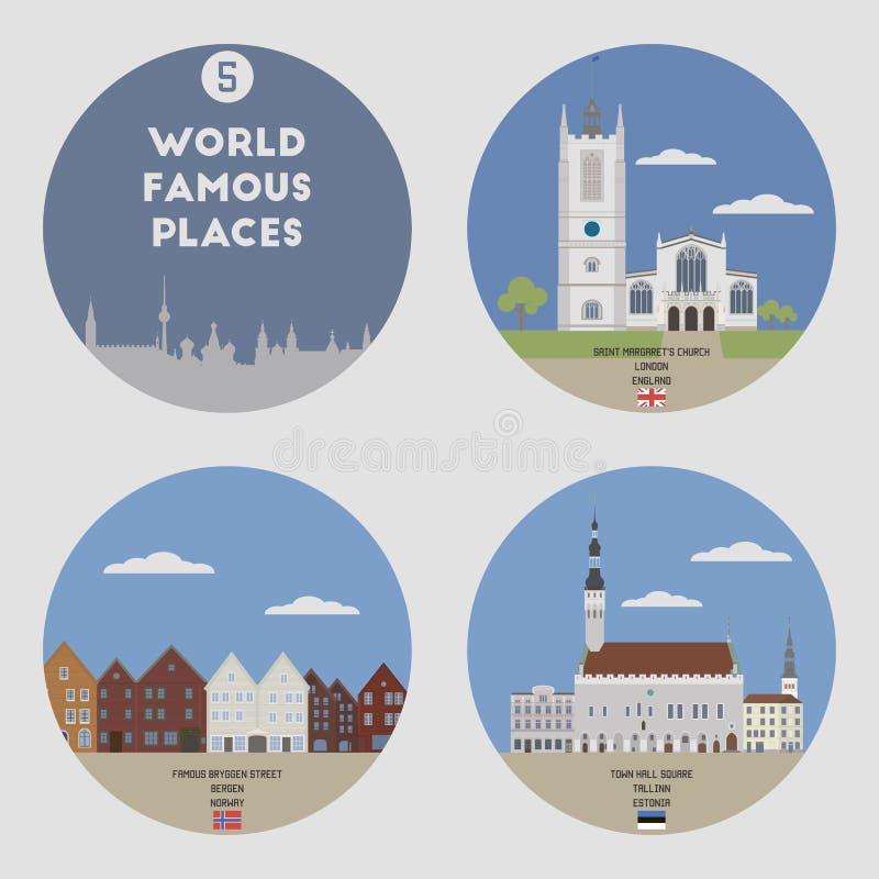 Lugares mundialmente famosos Grupo 5 ilustração royalty free