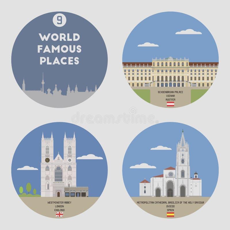 Lugares mundialmente famosos Grupo 9 ilustração do vetor