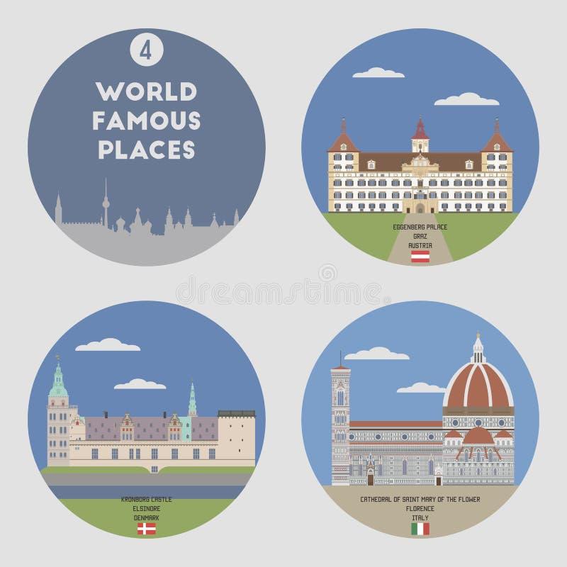 Lugares mundialmente famosos Grupo 4 ilustração stock