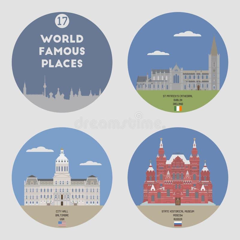 Lugares mundialmente famosos Grupo 17 ilustração royalty free