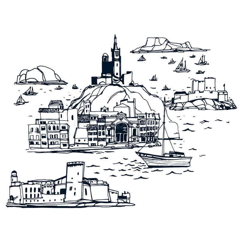 Lugares y arquitectura en todo el mundo stock de ilustración