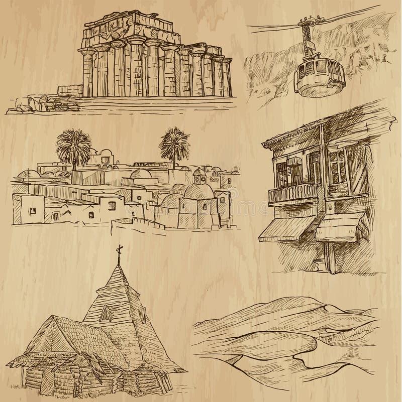 Lugares y no. famosos 20 de los edificios stock de ilustración