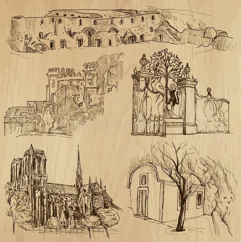 Lugares y no. famosos 23 de los edificios libre illustration
