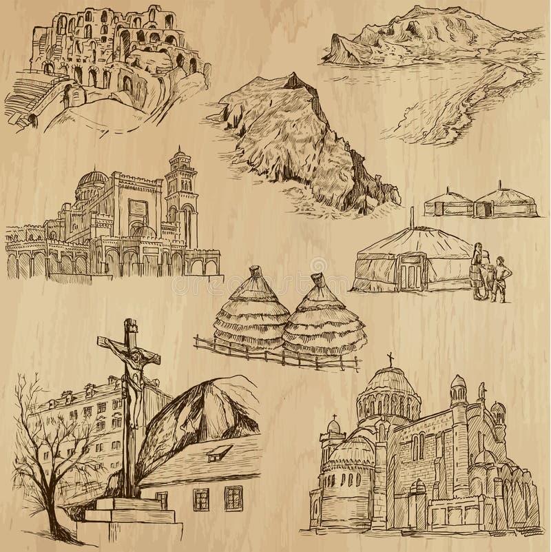 Lugares y no. famosos 25 de los edificios ilustración del vector