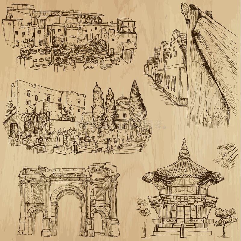 Lugares y no. famosos 24 de los edificios ilustración del vector