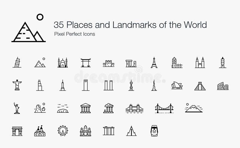 35 lugares y se?ales de la l?nea perfecta estilo de los iconos del pixel del mundo libre illustration
