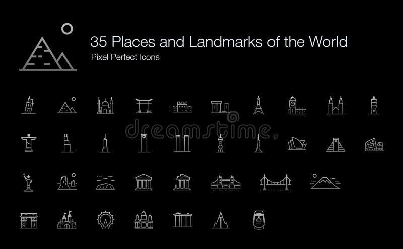 Lugares y señales del icono del mundo fijado para el fondo oscuro stock de ilustración