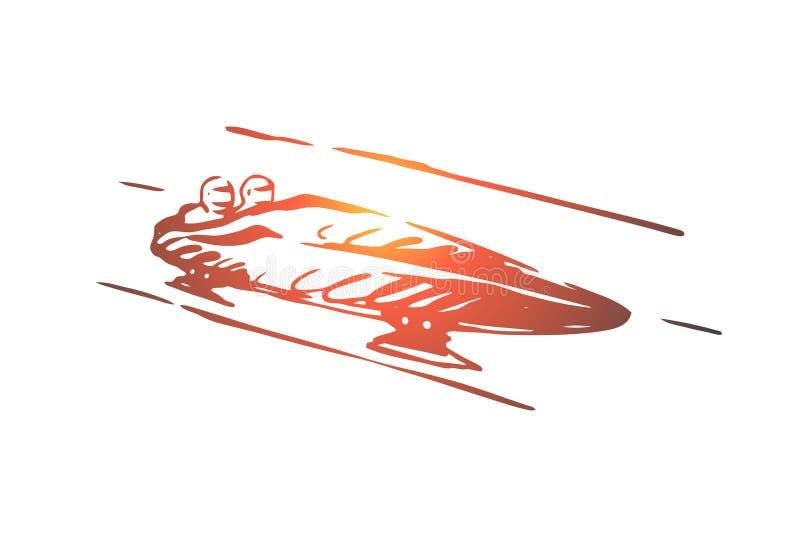 Luge, inverno, esporte, gelo, conceito da velocidade Vetor isolado tirado mão ilustração do vetor
