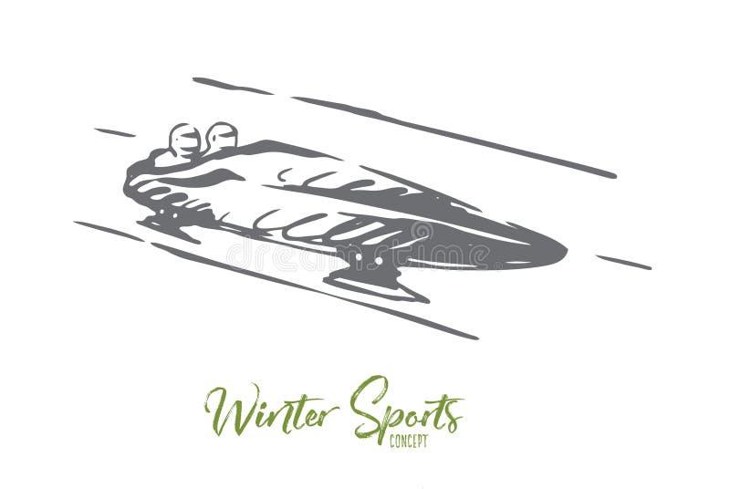 Luge, inverno, esporte, gelo, conceito da velocidade Vetor isolado tirado m?o ilustração do vetor