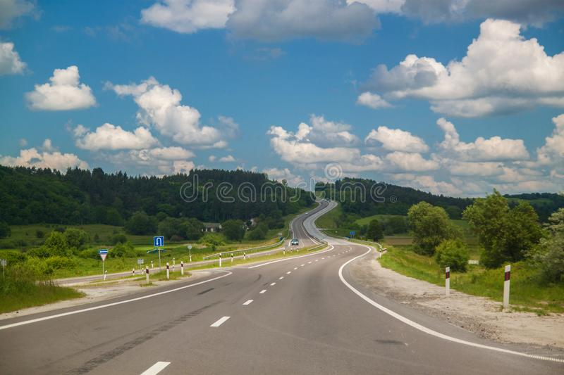 Luge track with beautiful mountains at skyline, Carpathians, Ukraine. stock images