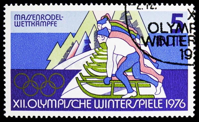 Luge, Winter Olympics 1976, Innsbruck-serie, circa 1975 lizenzfreies stockbild