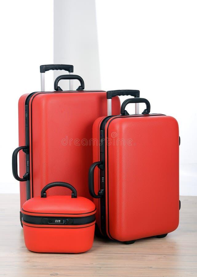 Luggage. Set of travel Luggage against white background royalty free stock photo