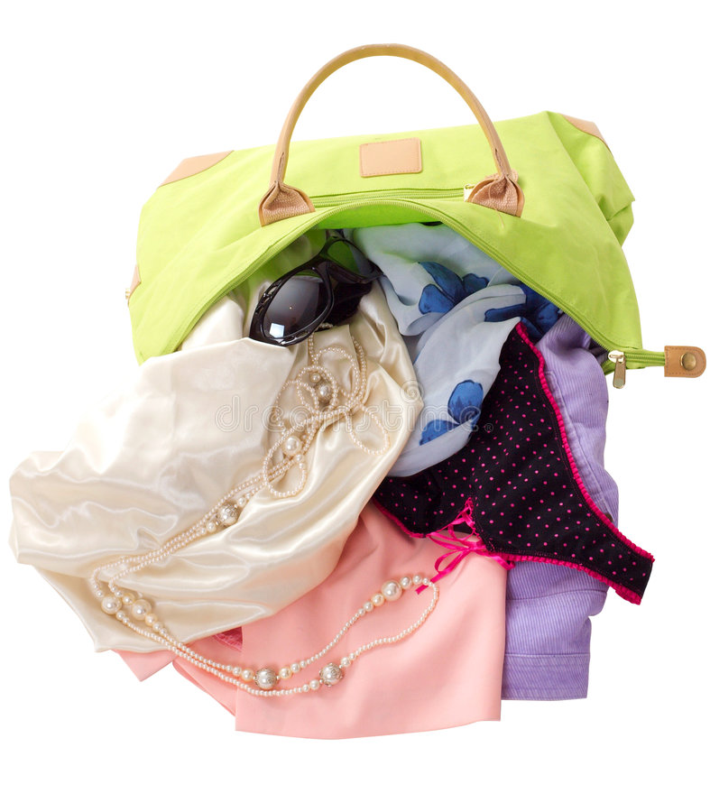 Luggage bag. With summer female things stock images