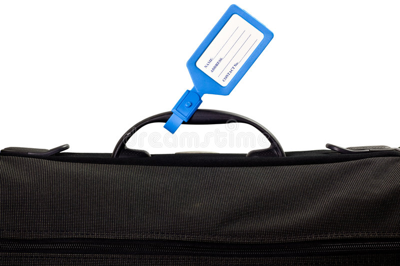 Luggage bag with identification tag. Isolated on white background stock photos