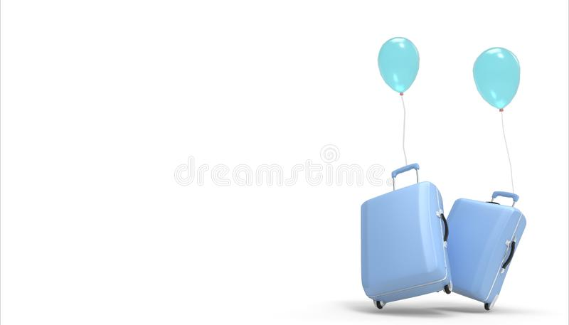 Luggage bag , suitcase pastel blue and Balloons isolated on a white background on Summer- holidays vacation concept royalty free illustration