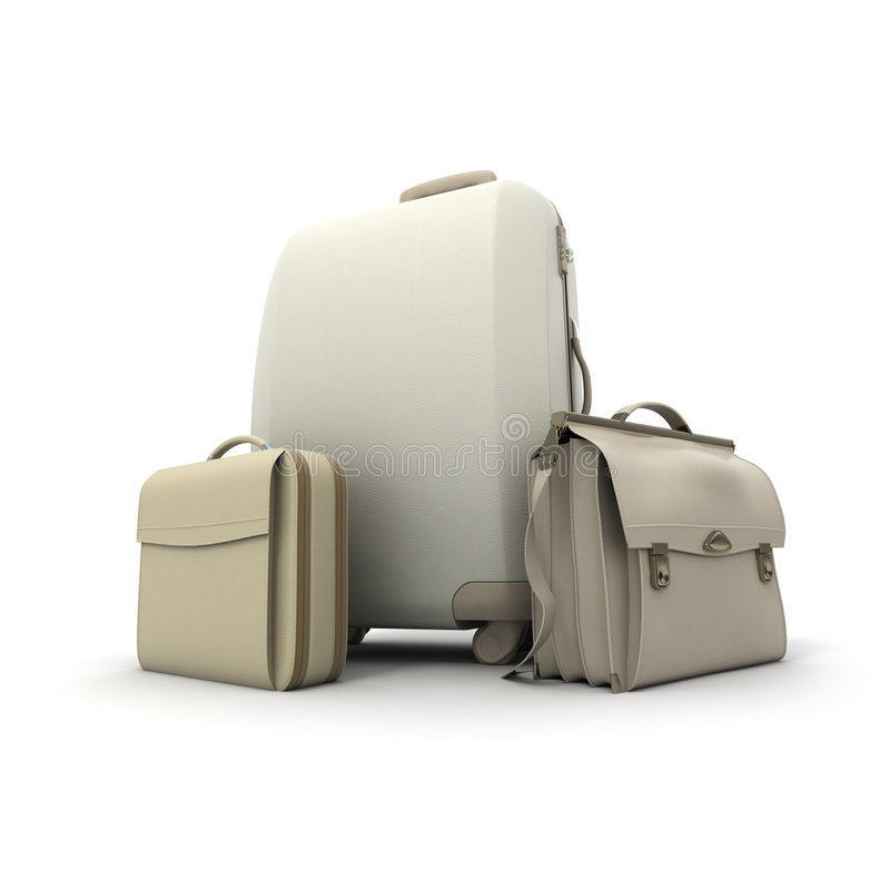 Luggage in beige stock illustration