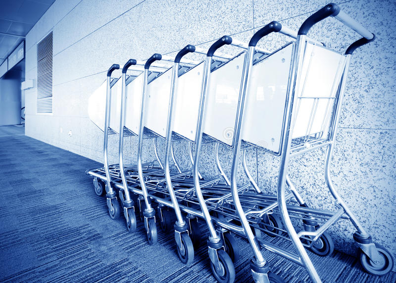 Luggage carts airport stock image