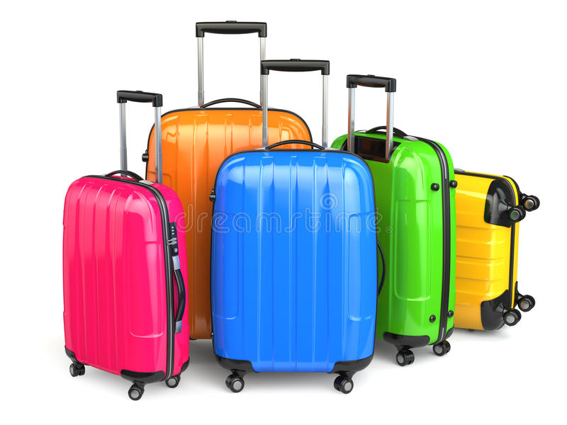 Luggage. Colorful suitcases on white background. 3d royalty free illustration