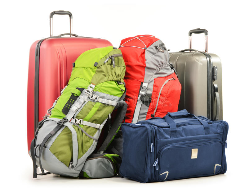 Luggage consisting of large suitcases rucksacks and travel bag. On white royalty free stock image