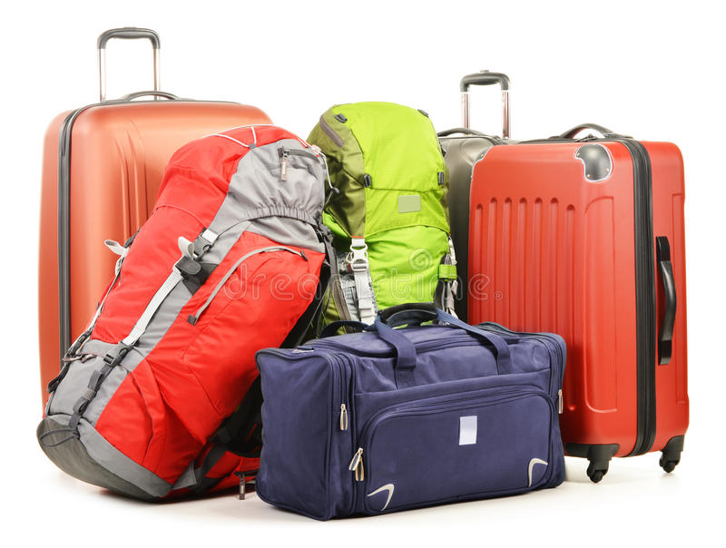 Luggage consisting of large suitcases rucksacks and travel bag. On white royalty free stock photography