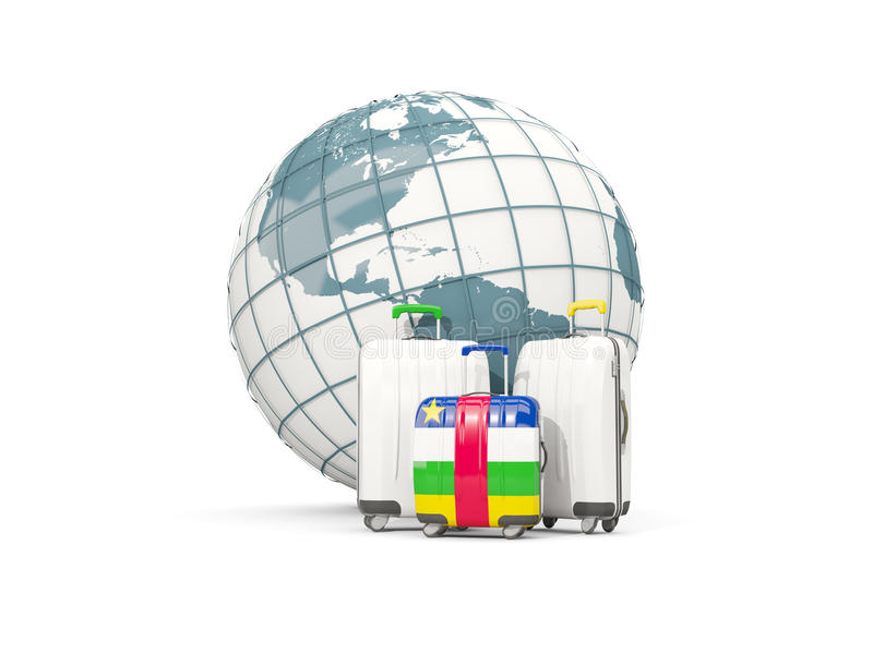 Luggage with flag of central african republic. Three bags in fro vector illustration