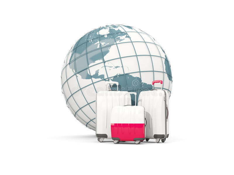 Luggage with flag of poland. Three bags in front of globe stock illustration
