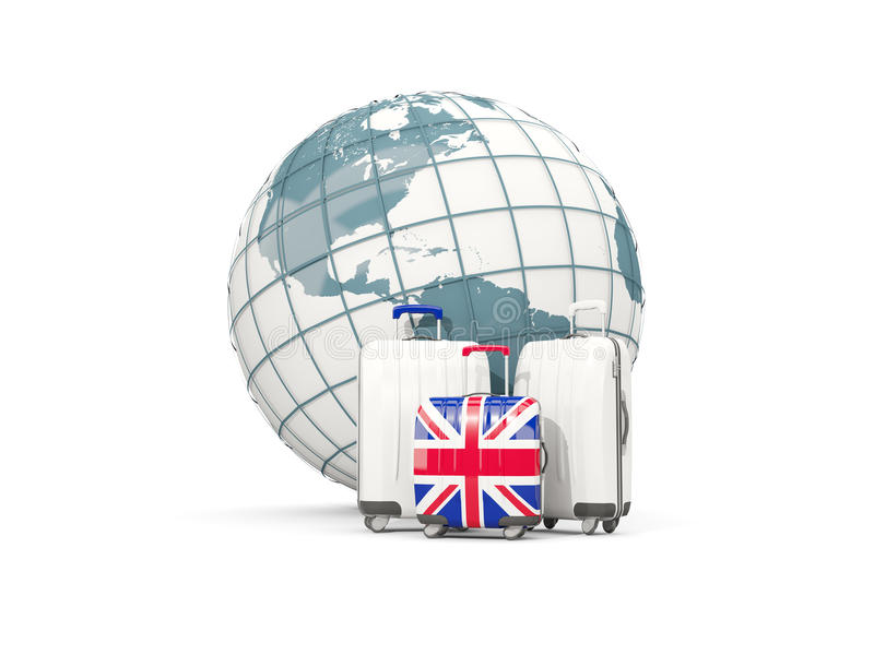 Luggage with flag of united kingdom. Three bags in front of globe vector illustration